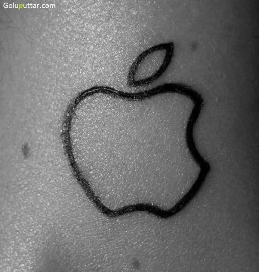 Terrific Outline Tattoo Of Apple Logo