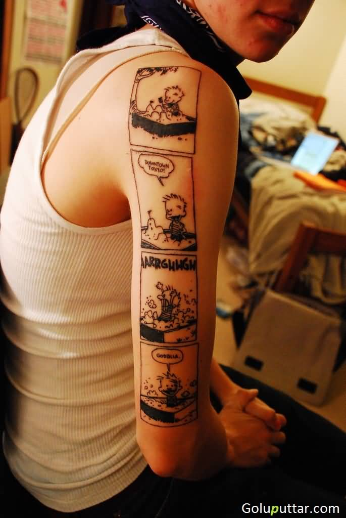 Vintage animated film strip tattoo on sleeve photos and for Arguments against tattoos