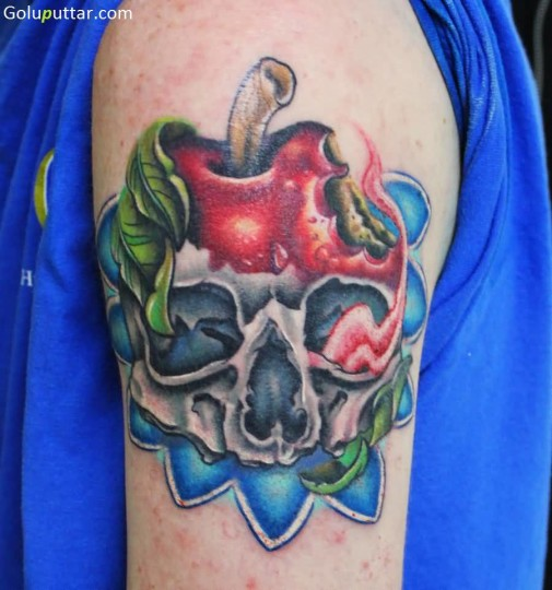 Weird Apple Skull Tattoo Design For Man