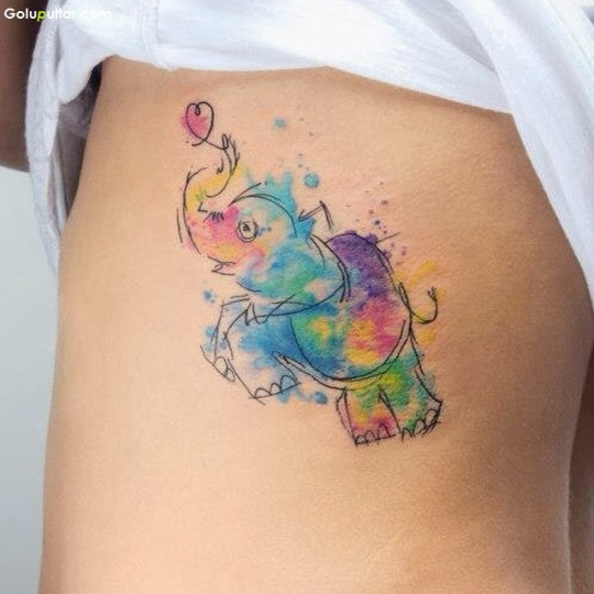 Another Best Elephant Tattoo Made In Aqua Style