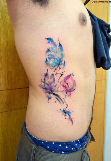 Awesome Tattoo Of Aqua Flower On Rib Side
