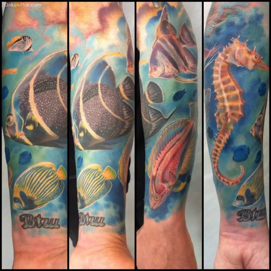 Brilliant Aqua Sea Gorse And Fish Tattoo For Man Sleeve