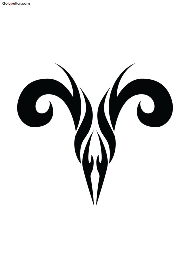 Brilliant Aries Zodiac Tattoo Stencil Design
