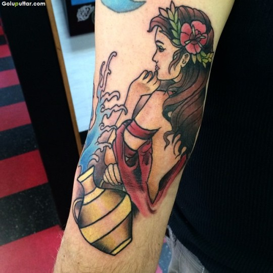 Custom Made Aquarius Girl Tattoo For Man Sleeve
