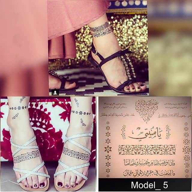 Fabulous arabic leg band tattoo for girls photos and for Thigh band tattoos for females