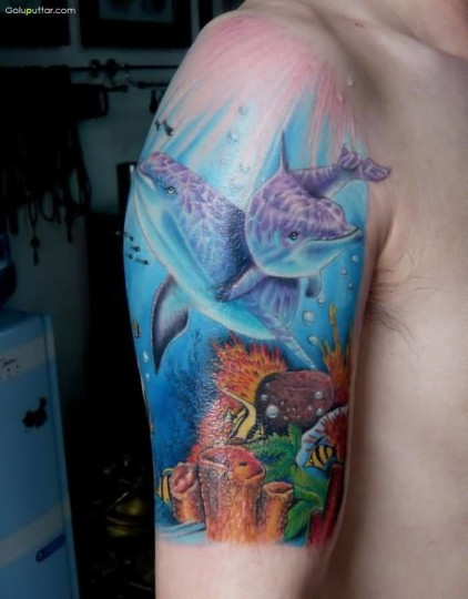 Fabulous Tattoo Of Aqua Fish For Upper Sleeve