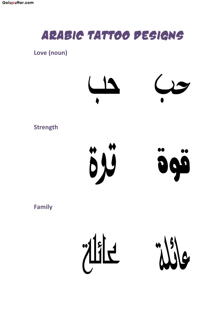 Famous Arabic Letter Tattoo Stencil With Meaning Photos And Ideas