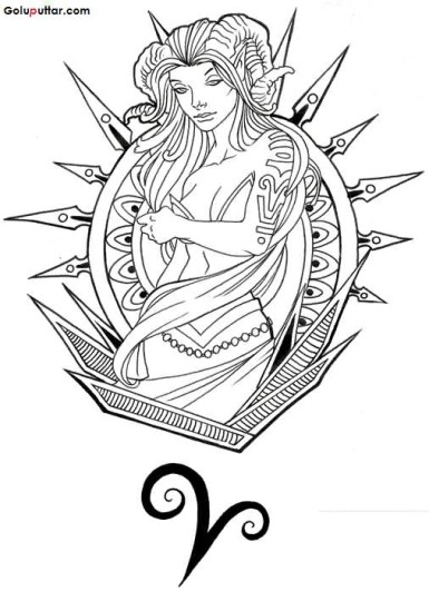 Innovative Aries Tattoo Stencil With Zodiac Sign