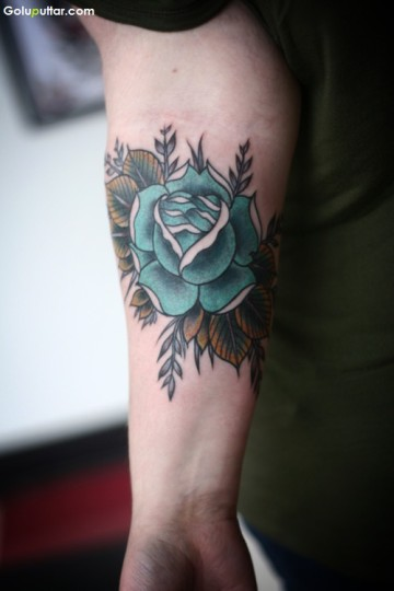 Lovely Sleeve Tattoo Of Aqua Flower With Leafs