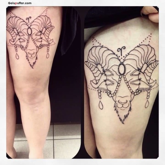 Lovely Tattoo Of Aries On Women's Left Thigh