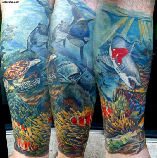 Mind Blowing Aqua Shark Fish Tattoo Design On Leg