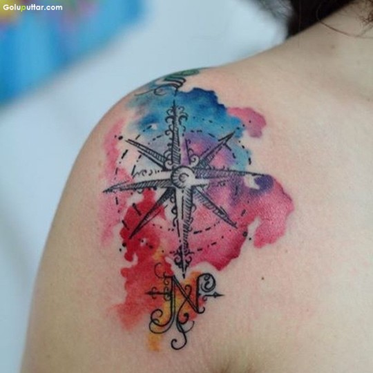 Outstanding Aqua Tattoo Of Compass On Back Shoulder