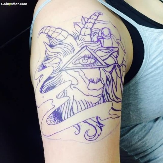 Terrific Aries Women Tattoo Outline With Hidden Eye