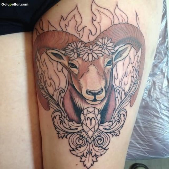 Traditional Aries And Flower Tattoo On Women's Thigh