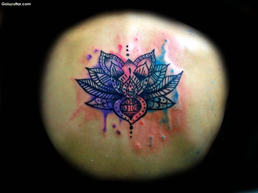 Traditional Back Tattoo Of Beautiful Aqua Lotus Flower Photos And