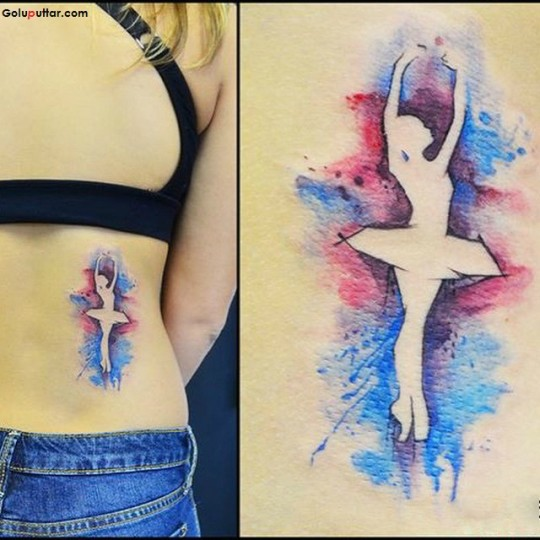 Ultimate dancing Girl Tattoo On Lower Back Made With Aqua Ink