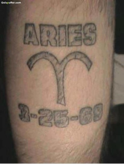 Vintage Zodiac Aries Sign Tattoo With Date