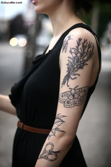 Amazing Arm Tattoo Design Of Bug For Beautiful Girl