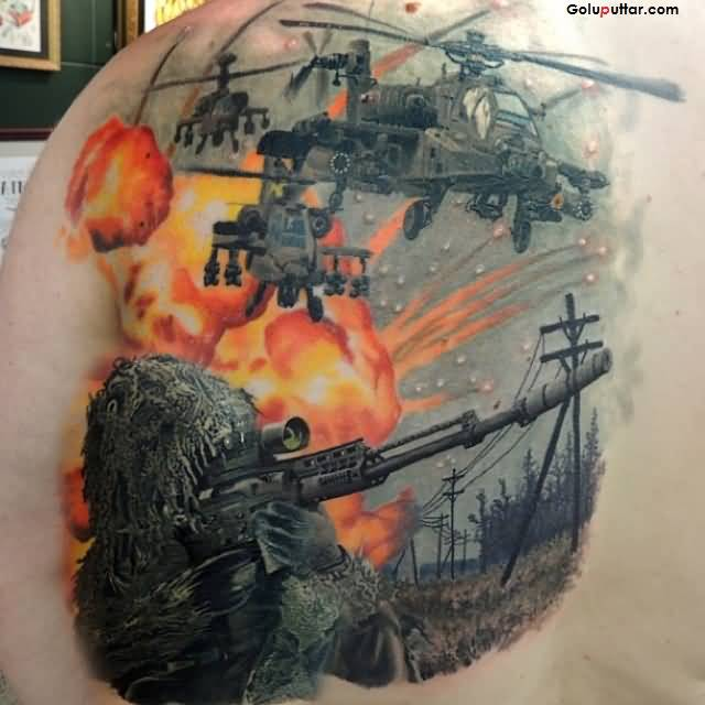 Amazing Army Helicopter And Sniper Tattoo On Man's Back