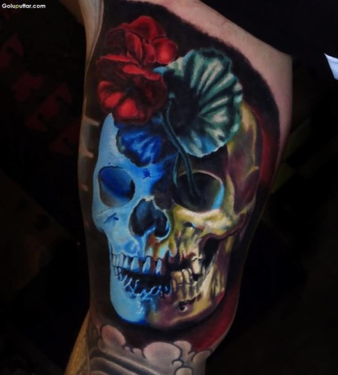 Another Best 3D Skull Face Tattoo On Arm Made With Blue Ink