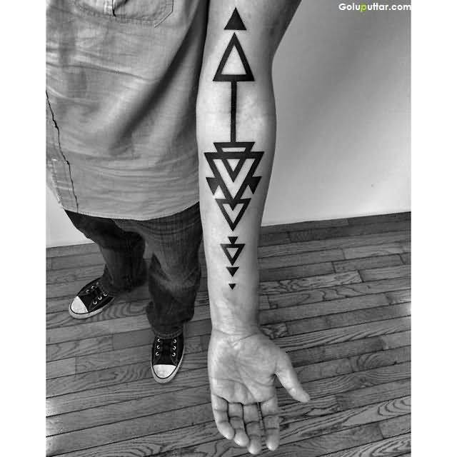 Another Best Forearm Tattoo Of Triangle Design For Funky Boy, Photos ...