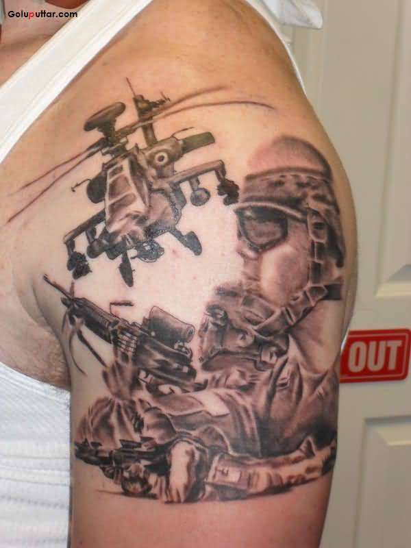 Attractive Tattoo Of Army Sniper And Helicoper On Man Shoulder