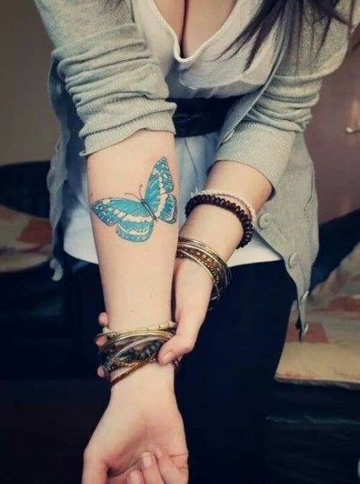 Awesome 3D Blue Butterfly Tattoo On Girls Sleeve