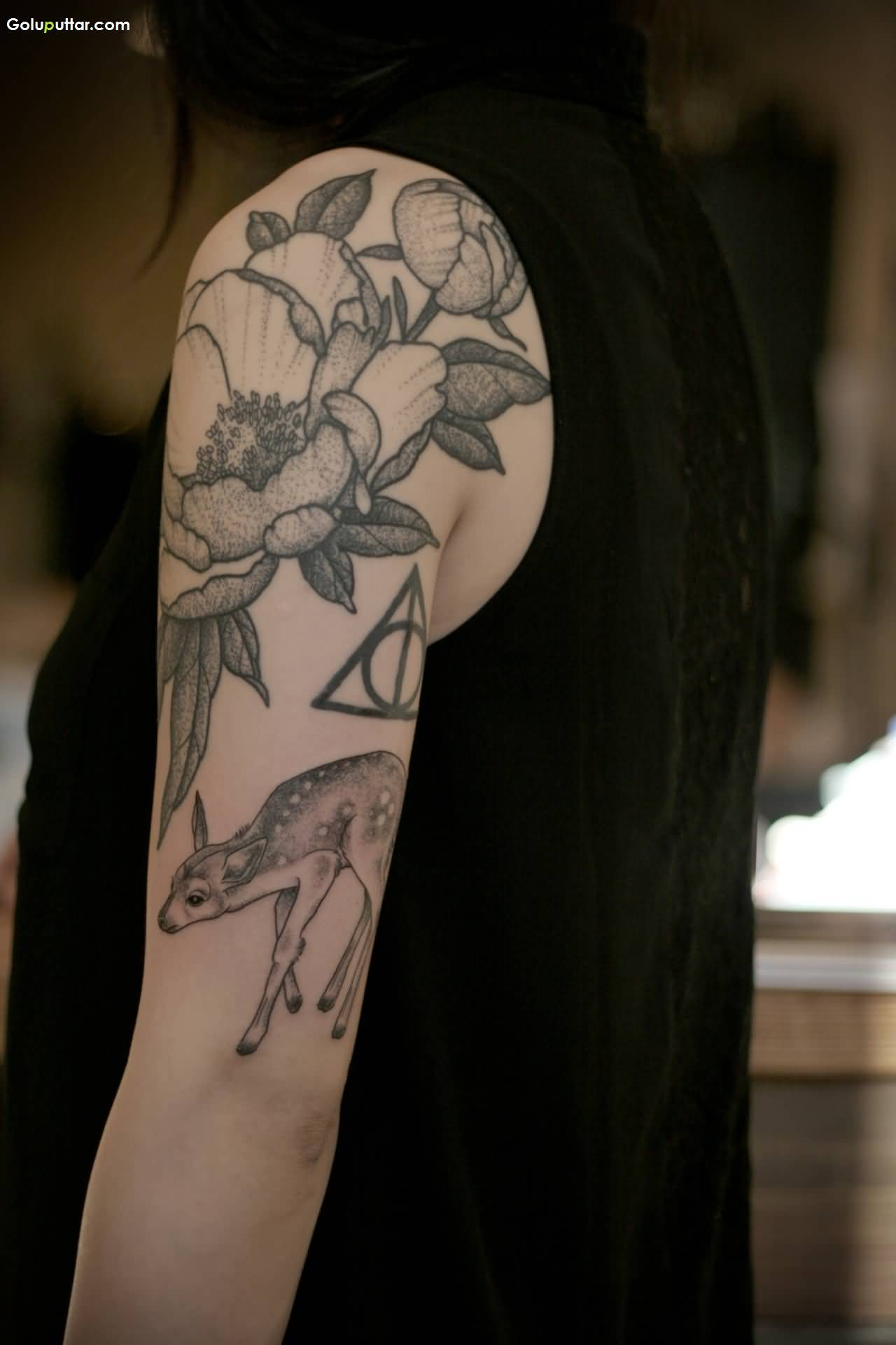 Awesome arm tattoo of lotus flower and deer for women photos and awesome arm tattoo of lotus flower and deer for women izmirmasajfo Choice Image