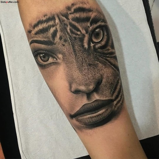 Awesome Girl And Tiger Face Collaboration Tattoo On Forearm