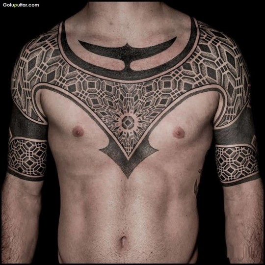 Awesome Man's Chest And Arm Decorated With Amazing Design