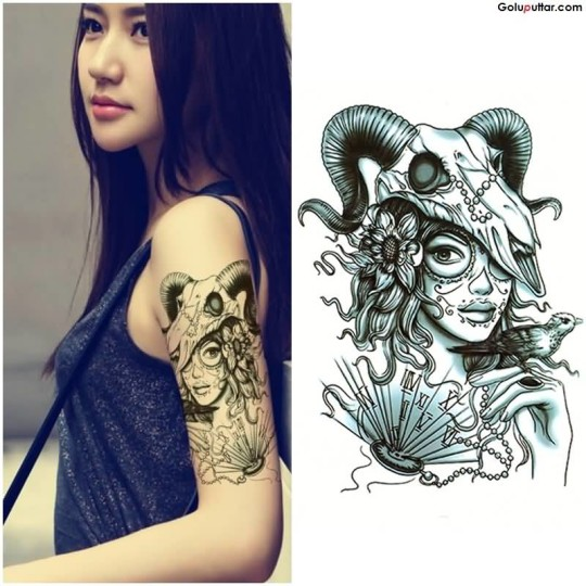 Beautiful Arm Tattoo Of Latino Girl With Aries Skull For Girl