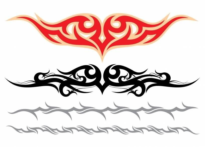 Beautiful Tribal Armband Tattoo Design And Red Stencil