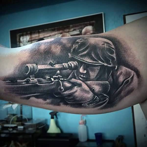Best 3D Tattoo Of Marvelous Army Sniper On Biceps