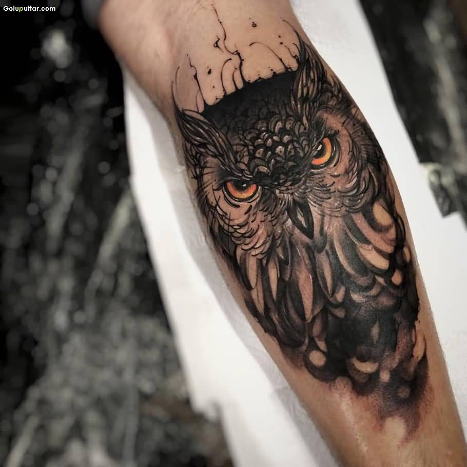 Best Animated Angry Owl Tattoo On Forearm Ever - Goluputtar.com