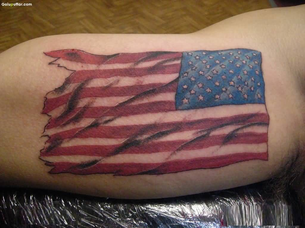 Biceps Decorated With  Innovative 3D Army Flag Tattoo