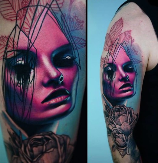 Charming Lady Face Tattoo Of Arm Made With Pink Ink