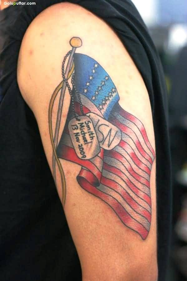 Cool Army Flag And Dog Tag Tattoo On Upper Sleeve