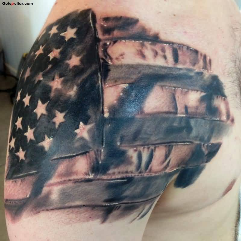 Coolest Army Flag Tattoo Made With Grey Ink