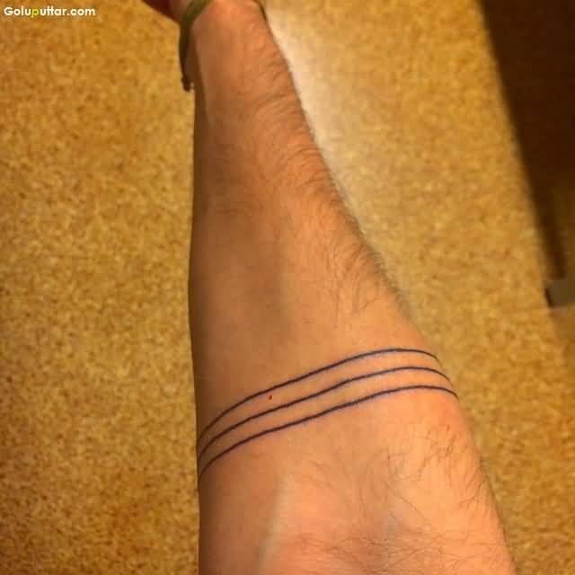 Coolest Lower Arm Tattoo Of Line Armband Design