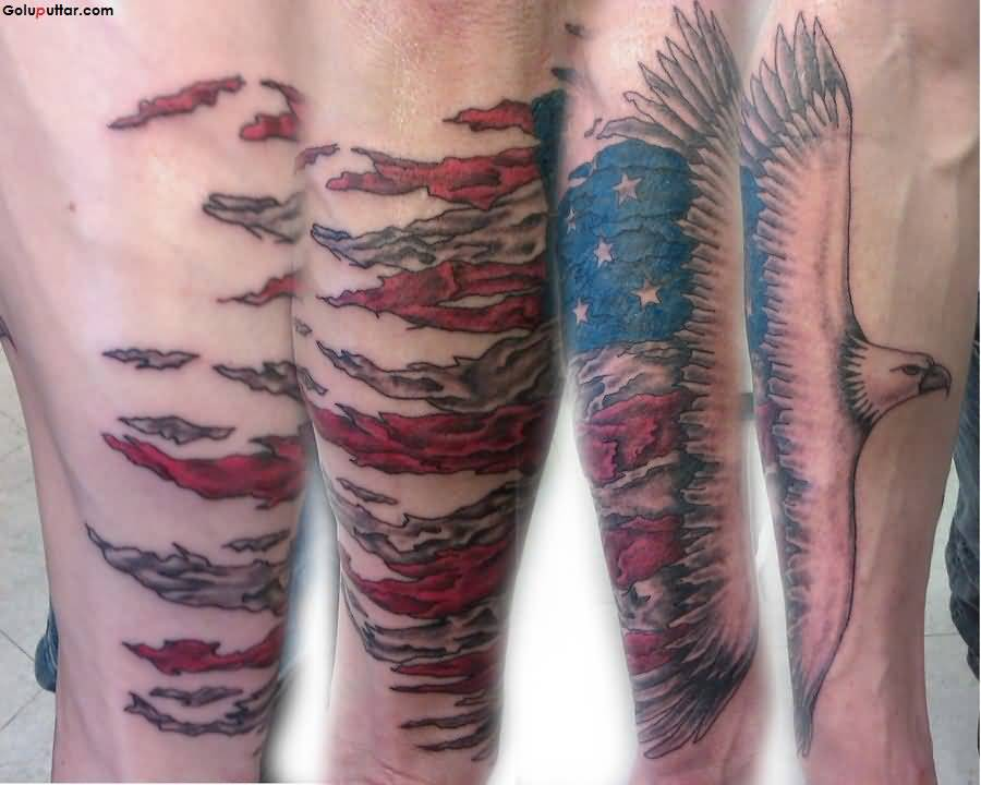 Creative Tattoo Of Army Flag And American Eagle On Arm