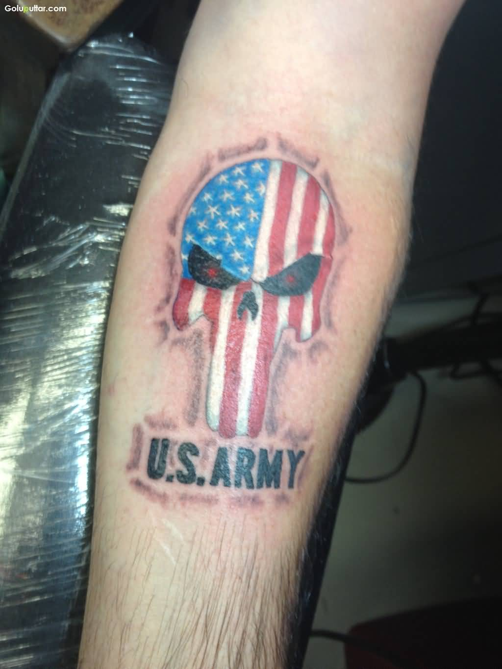 Extremely Best Army Flag And Skull Tattoo