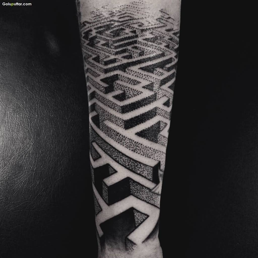 Fabulous 3D Maze Tattoo Design On Lower Arm, Photos and Ideas ...