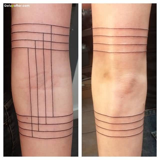Fantastic Upper Armband Tattoo On Simple Line