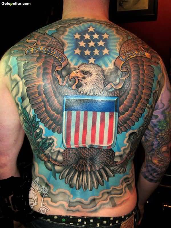 Full Back Decorated With Best Army Flag And US Eagle Tattoo Ever