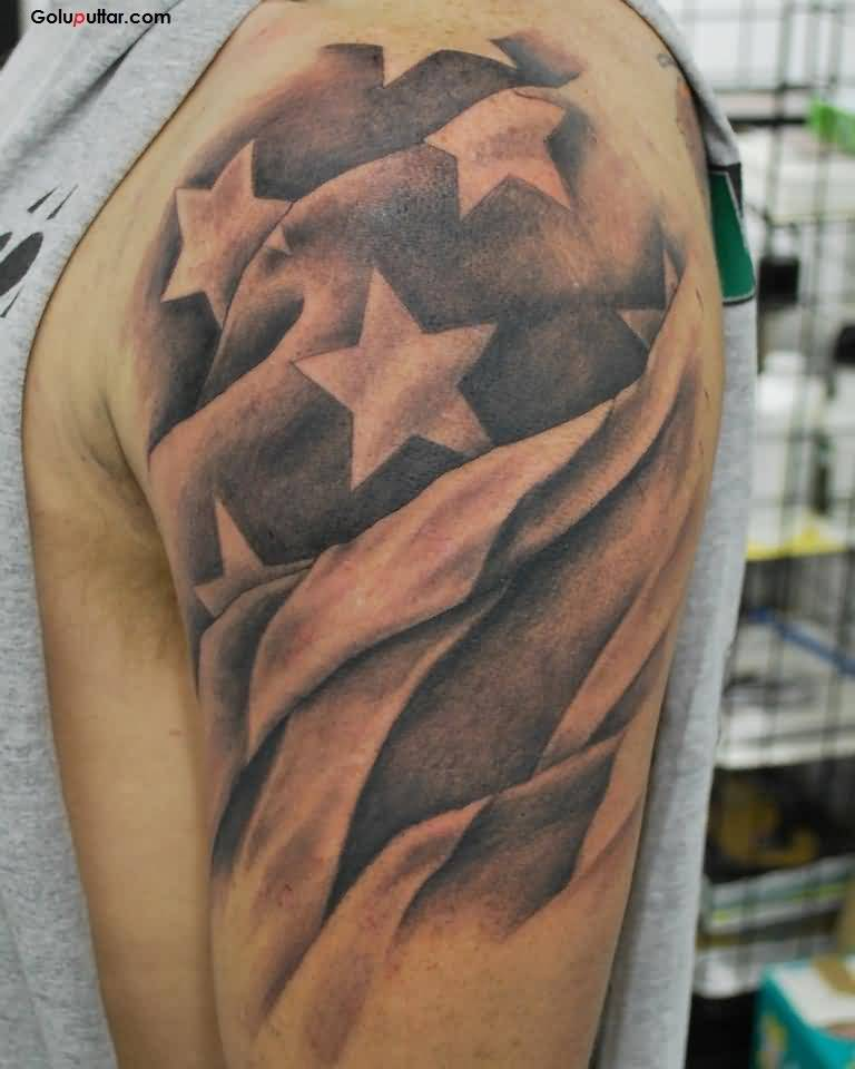 Great Army Flag And Star Tattoo Design On Shoulder