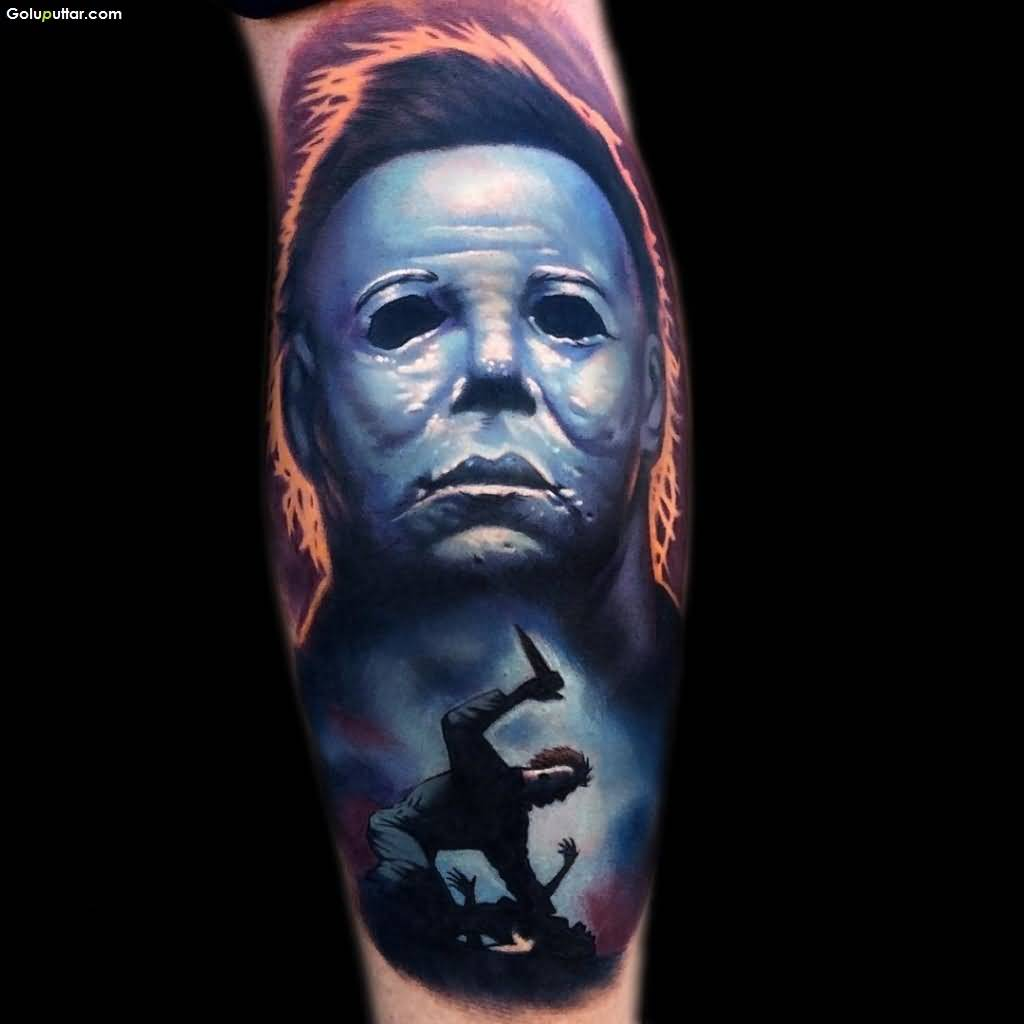 groovy 3d scary face tattoo on arm made with blue ink photos and ideas. Black Bedroom Furniture Sets. Home Design Ideas