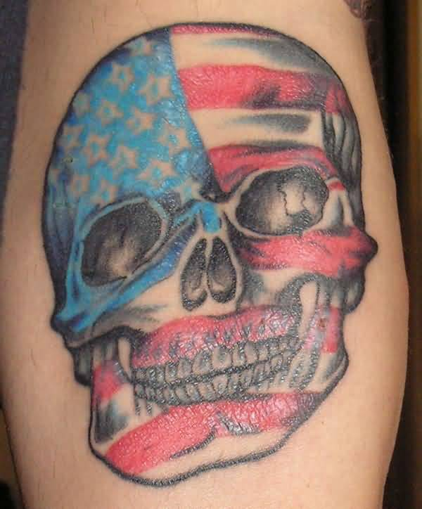 Horrible Army Skull And Flag Tattoo Made By Expert