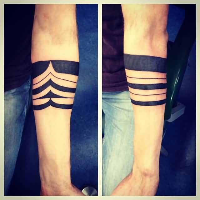Attractive solid lower armband tattoo design made with for Solid armband tattoos