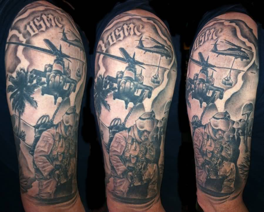 Innovative army infantry and helicopter tattoo on sleeve for Army infantry tattoos