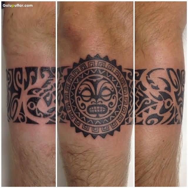cool tribal maori armband tattoo on lower arm photos and ideas. Black Bedroom Furniture Sets. Home Design Ideas